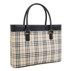 BURBERRY Logos Check Pattern Hand Bag Beige Black